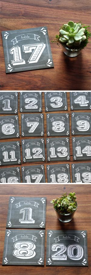 Chalkboard Table Numbers - Perfect for your wedding or party! www.lovevsdesign.com