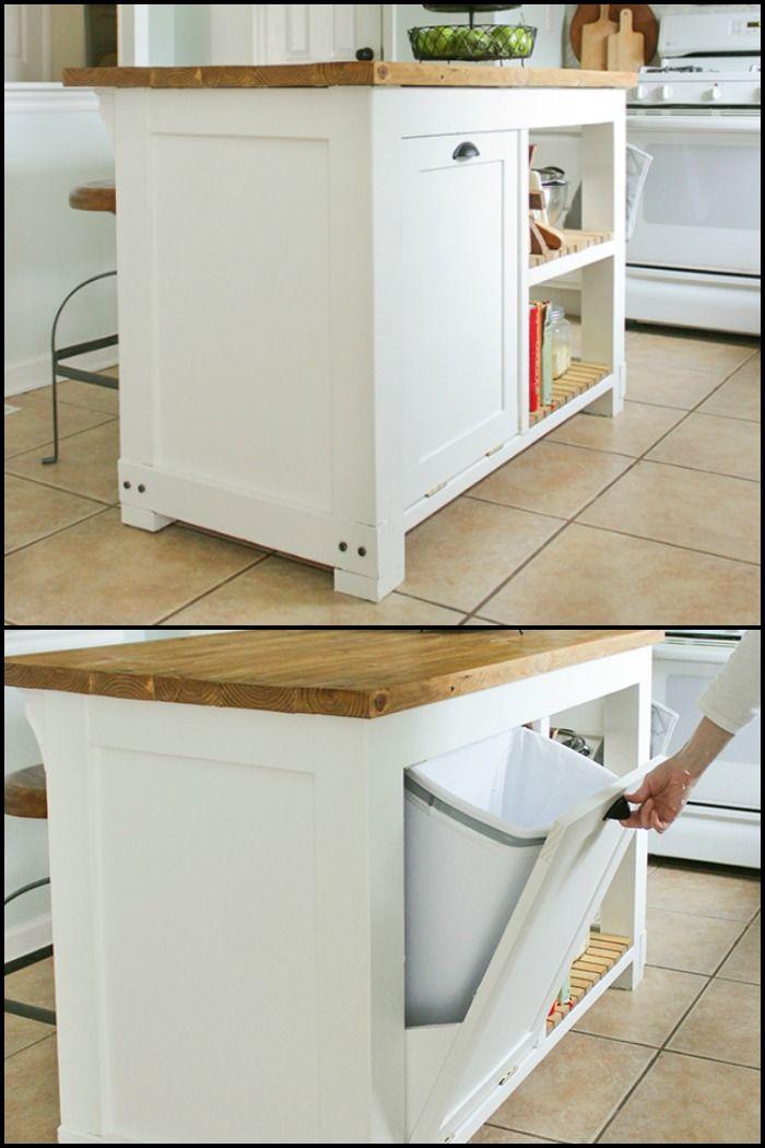 build a kitchen island with trash storage diy kitchen
