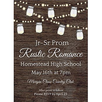Add your own custom text to these Rustic Romance Stationery Card Invitations featuring a wood-look background with jar lights that hang down from the top.