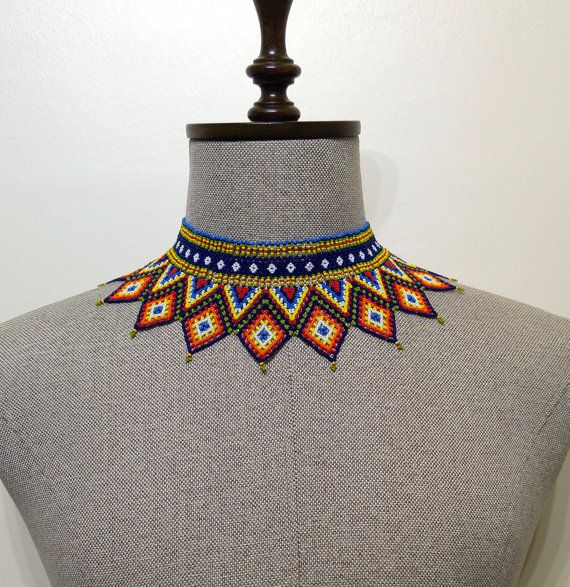 Peyote Dorado Mexican Beaded Necklace Colorful by NazoDesign