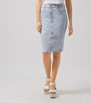 Light Blue Acid Wash Pencil Skirt