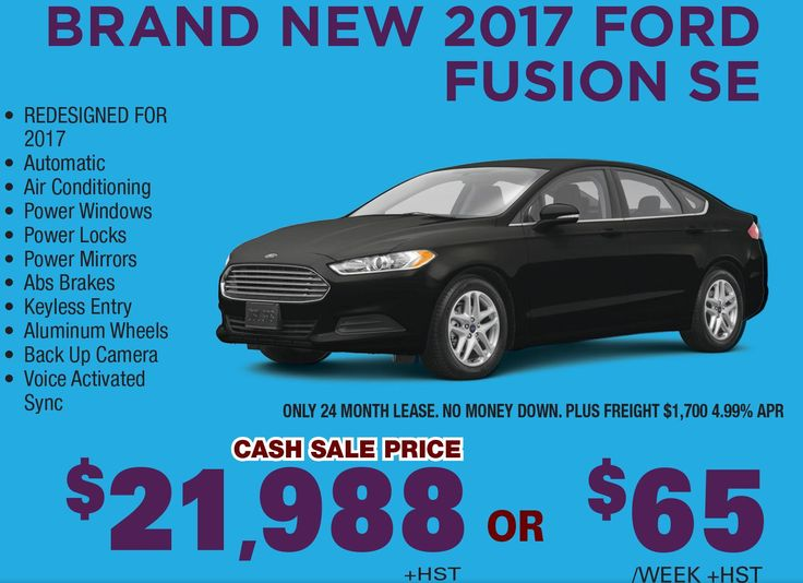 Brand New 2017 Ford Fusion SE, Redesigned for 2017 with Automatic Transmission, Air Conditioning, Power Mirrors, Power Windows, Keyless Entry, Abs Brakes, back Up Camera, Power Locks, Aluminum Wheels and Voice Activated Sync is available for sale in Toronto, Canada.   Cash Sale Price: $21,988+HST  Only 24 Month Lease. No Money Down, Plus Freight $1,700 4.99% APR
