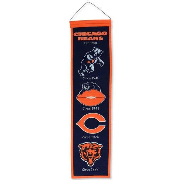Winning Streak Chicago Bears Heritage Banner (£30) ❤ liked on Polyvore featuring home, home decor, wall art, team color, vertical wall art and chicago bears wall art