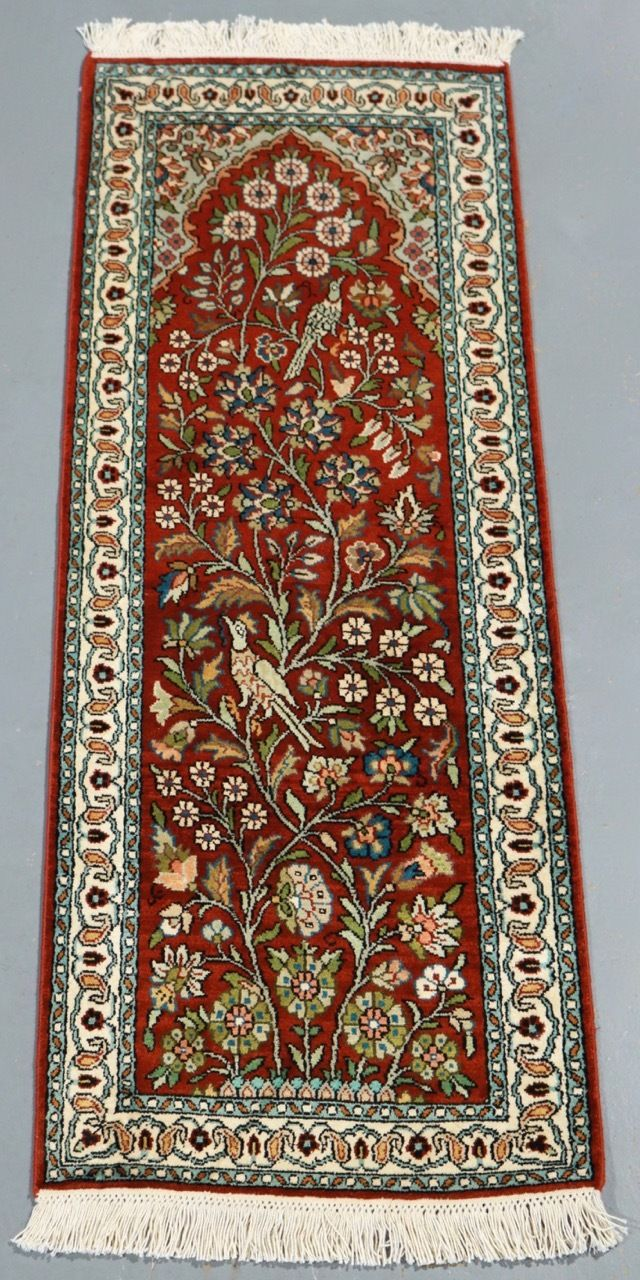 Kashmir Pure Silk Rug (Ref 3171) 121x45cm - PersianRugs.com.au