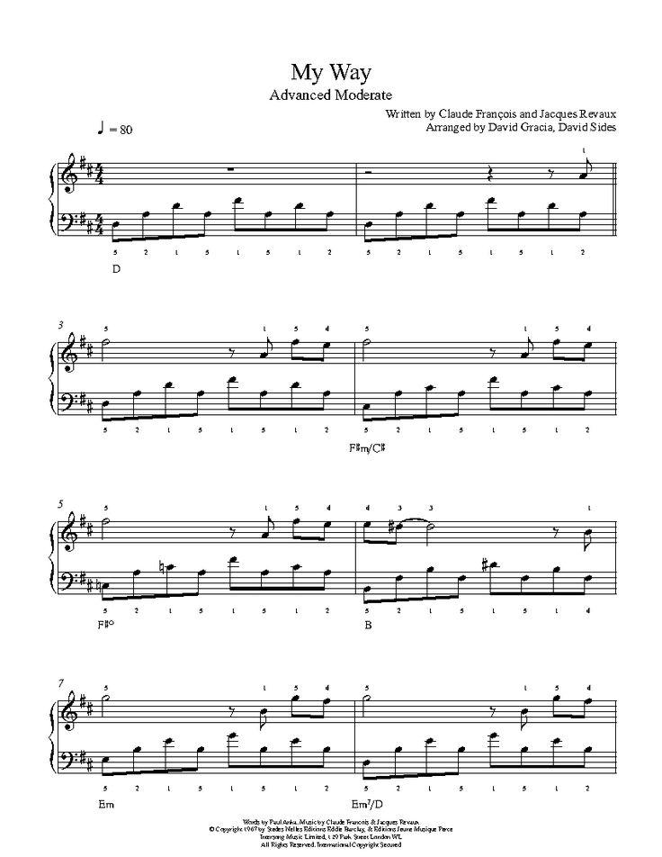 My Way by Frank Sinatra Piano Sheet Music | Advanced Level