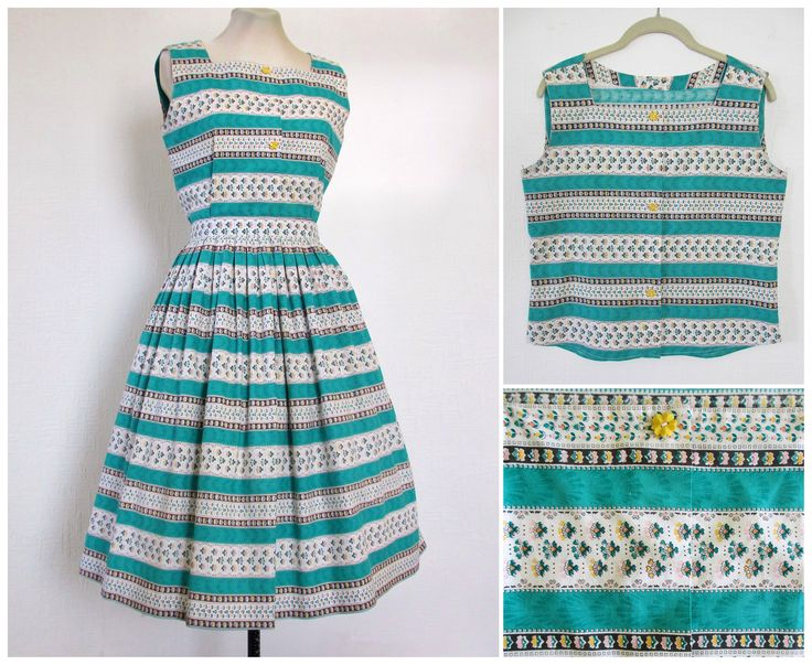 1950s Dress 50s Skirt 2 Piece Set Cotton Green White Floral Stripe Ethnic 1960s Top and Skirt Set with Full Skirt S / M by fibreworks on Etsy https://www.etsy.com/listing/537028751/1950s-dress-50s-skirt-2-piece-set-cotton