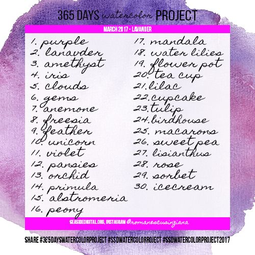 #365dayswatercolorproject prompts for April 2017