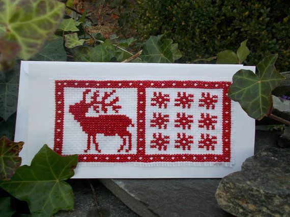Christmas greeting card by CamisTheCrossStitch on Etsy