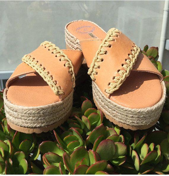 Greek sandals Leather Slide Sandals Leather Platforms Criss
