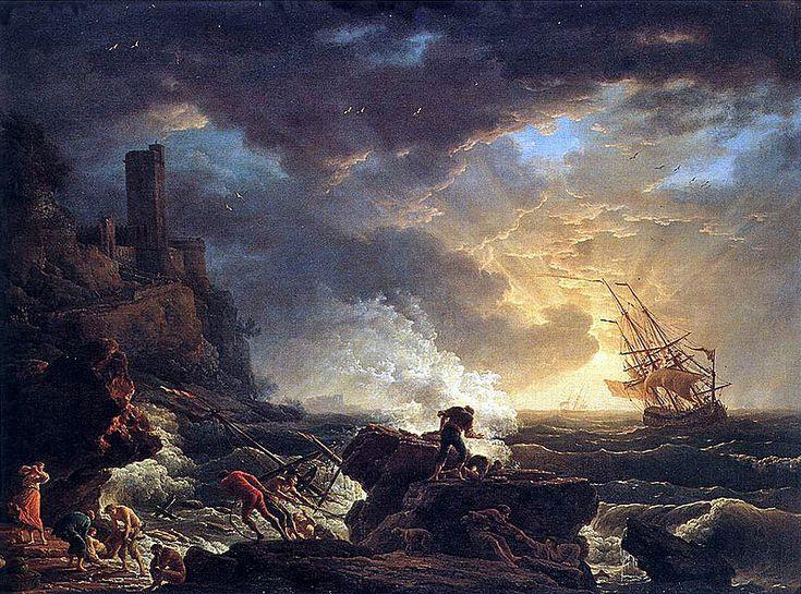 """Romanticism - Joseph Vernet, 1759, Shipwreck; the 18th century """"sublime"""""""