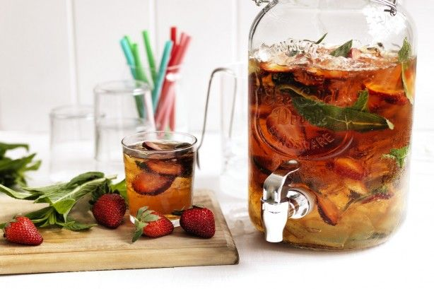 This PIMM'S cocktail is given a berry-licious twist with the addition of strawberries.