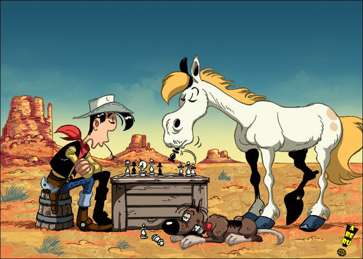 Lucky Luke and his very clever horse, Jolly Jumper