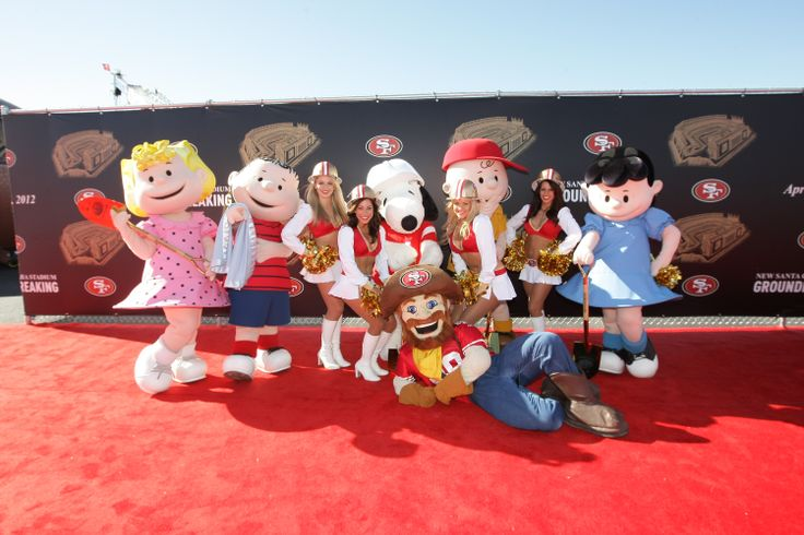 49ers mascot Sourdough Sam with members of the Peanuts cast at the new Santa Clara Stadium Groundbreaking Ceremony. Lucy, Linus, Charlie Brown, and Snoopy were some of the guests in attendance along with 49ers Gold Rush cheerleaders.