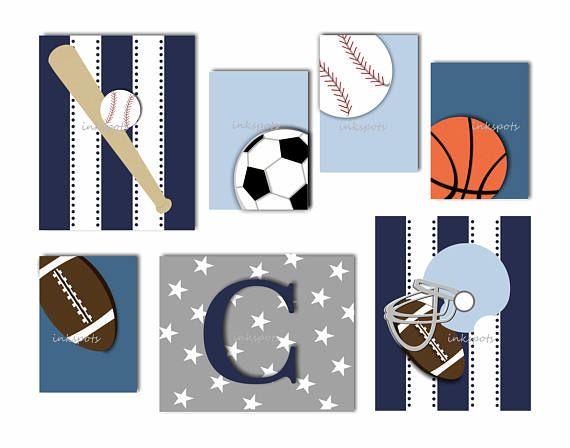 Bebé niño béisbol infantil / guardería deportes decoración / deportes vivero / béisbol Decor / chicos salón deportes arte / elegir colores SP1909