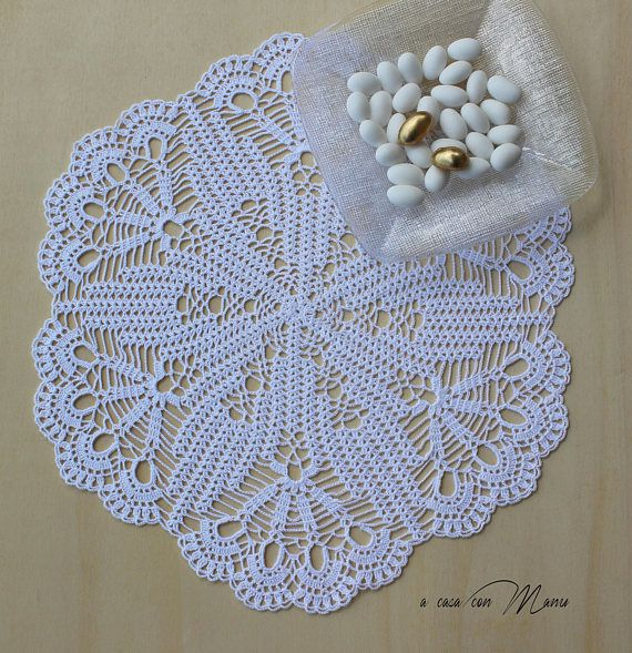 Grande Centrino a uncinetto bianco White Decor Crochet Lace