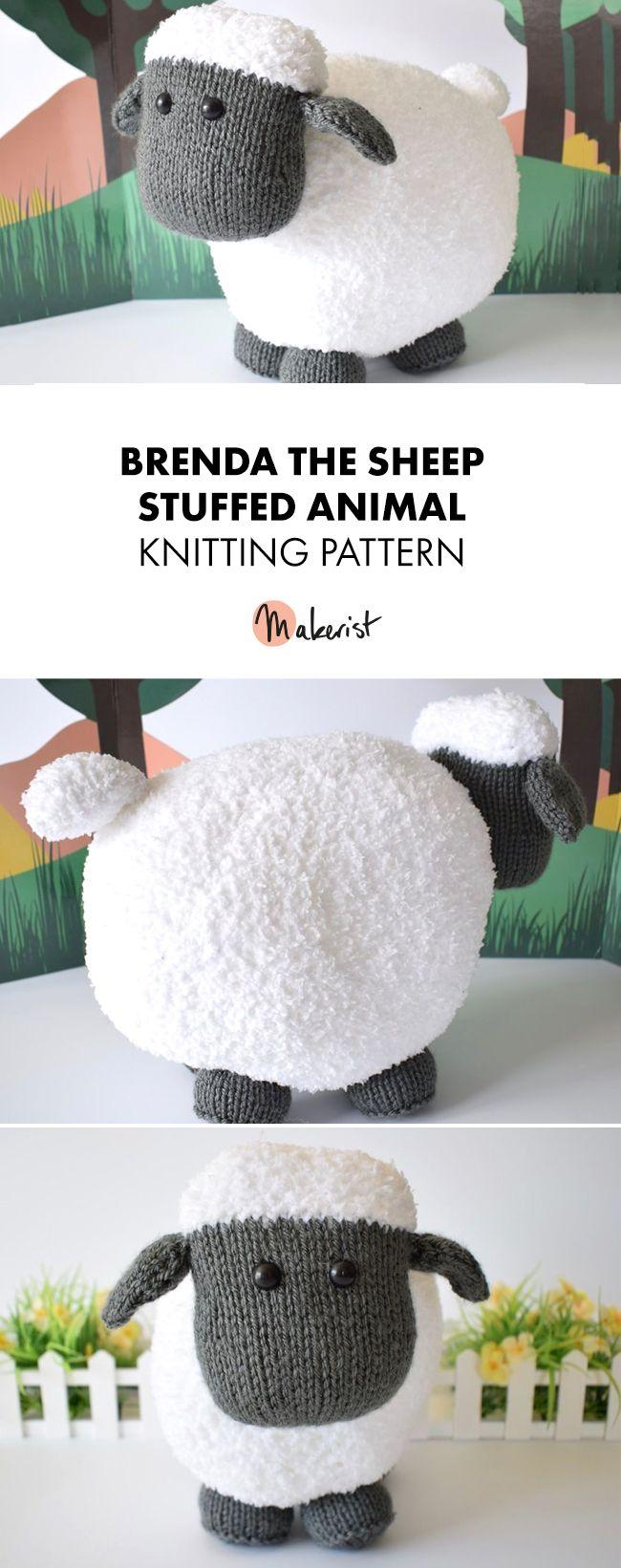 Adorable Sheep Stuffed Animal for kids- Knitting Pattern via Makerist.com #knitt…