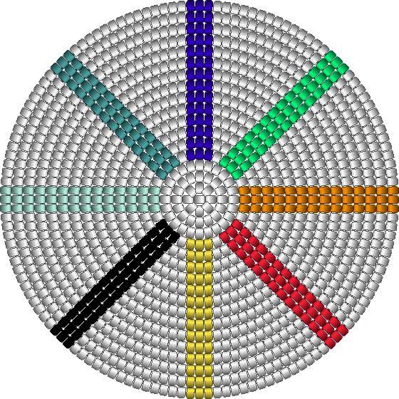 bodem regenboog dans, 144 steken, 18 toeren, 9 kleuren