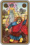 На карте изображен мужчина, убегающий от гнева Фурии. Фурии – древнеримские богини мести и угрызений совести, наказывающие человека за совершенные преступления, карающие человека за грехи. Мужчина сильно напуган, да и есть от чего, – ему вслед Фурия бросает змей, жалящих его молниями. Параноидальные идеи, навязчивое чувство вины, отравляющее жизнь. Впасть в неуправляемую ярость.
