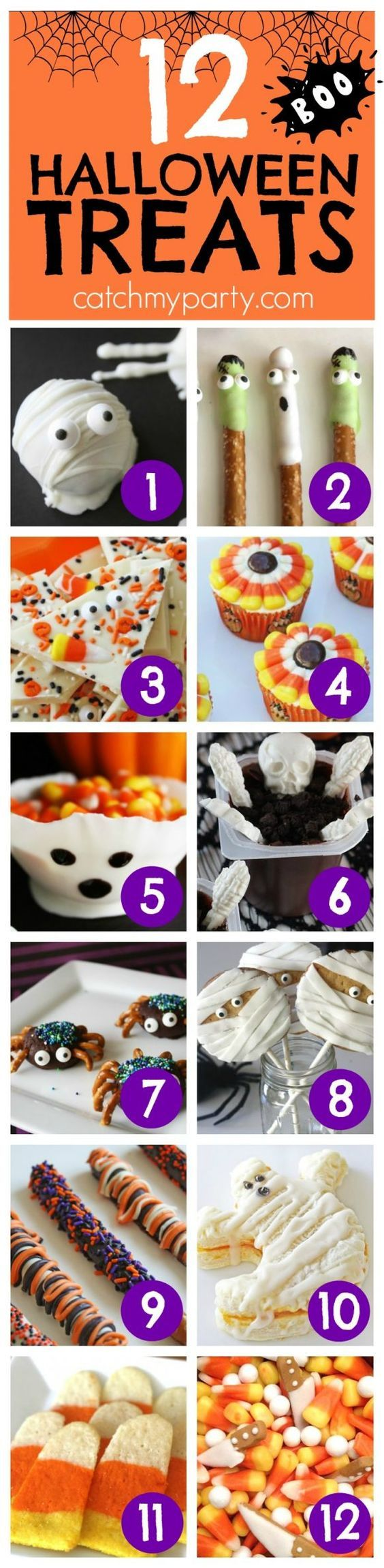 12 Easy Halloween Treats to make for your friends and family! Great for all your Halloween parties! | CatchMyParty.com
