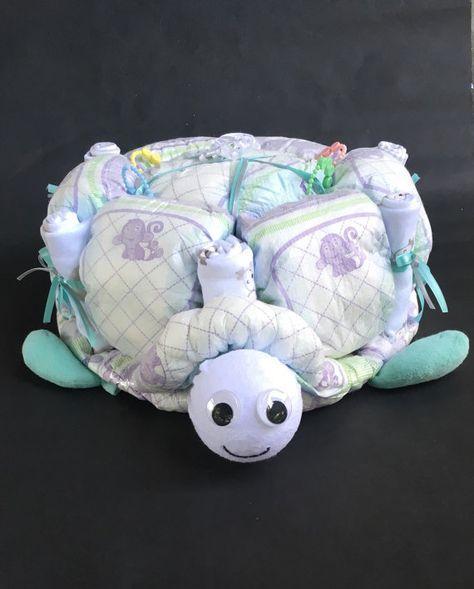 Turtle diaper cake unique diaper cake unique by OBabyDiaperCakesCo