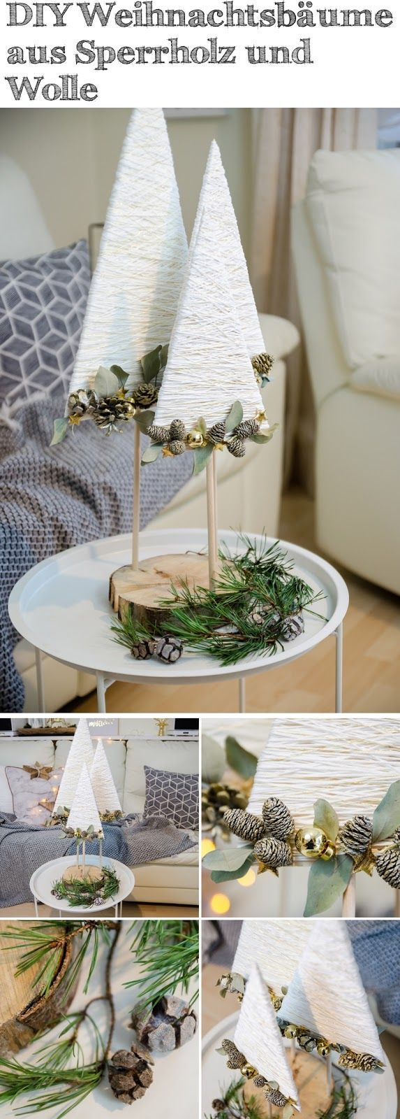 DIY Christmas trees made of plywood, wool and gold wire