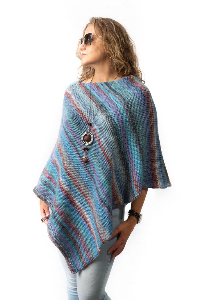 Blue Wool Womens Knitted Poncho Christmas Gift For Woman