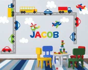 Worried about the decals not sticking? Try our product risk free! 100% MONEY BACK GUARANTEE within 30 days of receiving your shipment. If your decals have any trouble sticking we will give you the choice of replacements or a full refund!     This transportation set comes with a personalized name for your childs bedroom or playroom! Cars, a semi truck, a school bus, and planes are the perfect addition to brighten up any room! [WHATS INCLUDED]    Everything Pictured    Approximate Sizes: Road…