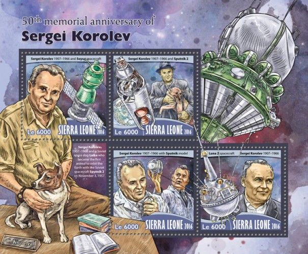 SRL16704a 50th memorial anniversary of Sergei Korolev (Sergei Korolev (1907–1966) and Soyuz spacecraft; Sergei Korolev (1907–1966) and Sputnik 2; Sergei Korolev (1907–1966) with Sputnik model; Luna 2 spacecraft)