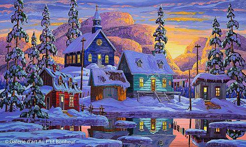 Vladimir Horik, 'Fin d'une journée parfaite', 30'' x 50'' | Galerie d'art - Au P'tit Bonheur - Art Gallery