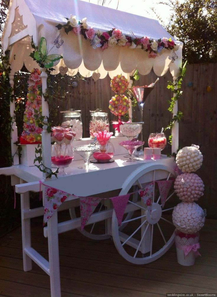 Pink candy cart wedding snack station sweetblooms for Mobilia wedding