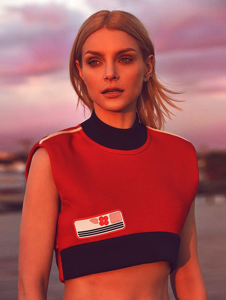 Jessica Stam poses in cropped Prada top. Photo: Richard Ramos