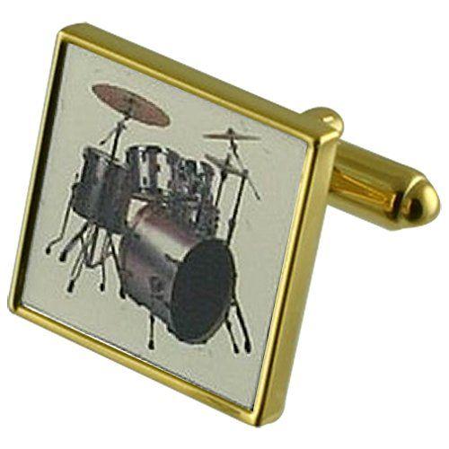nice Equipo de batería Música Gemelos de oro con grabados caso personalizado