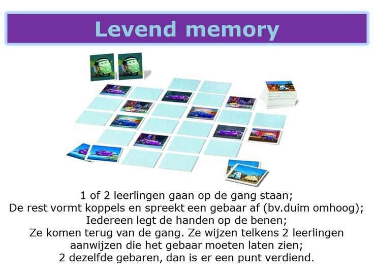 Memoryspel te spelen met de hele klas tegelijk.
