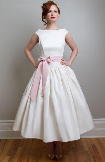 Lovely Tea length with sleeves Tea Length Wedding Dresses by Independent Dress Designer Joanne Fleming