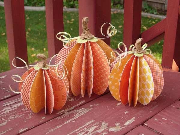 Paper Pumpkins (scrapbook paper!)