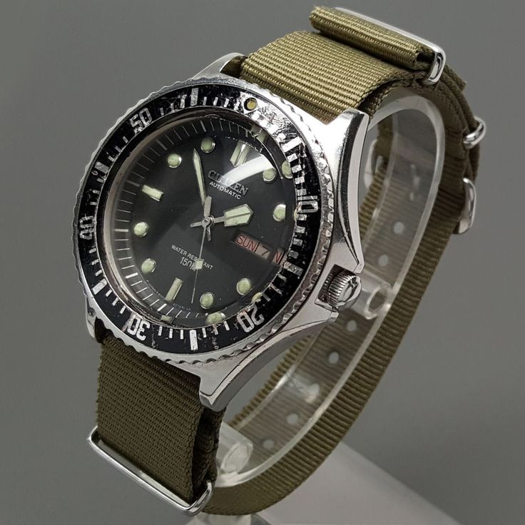 Citizen 51-2273 PAF Air Force Military Issue Diver Automatic Day Date Watch NATO #Citizen