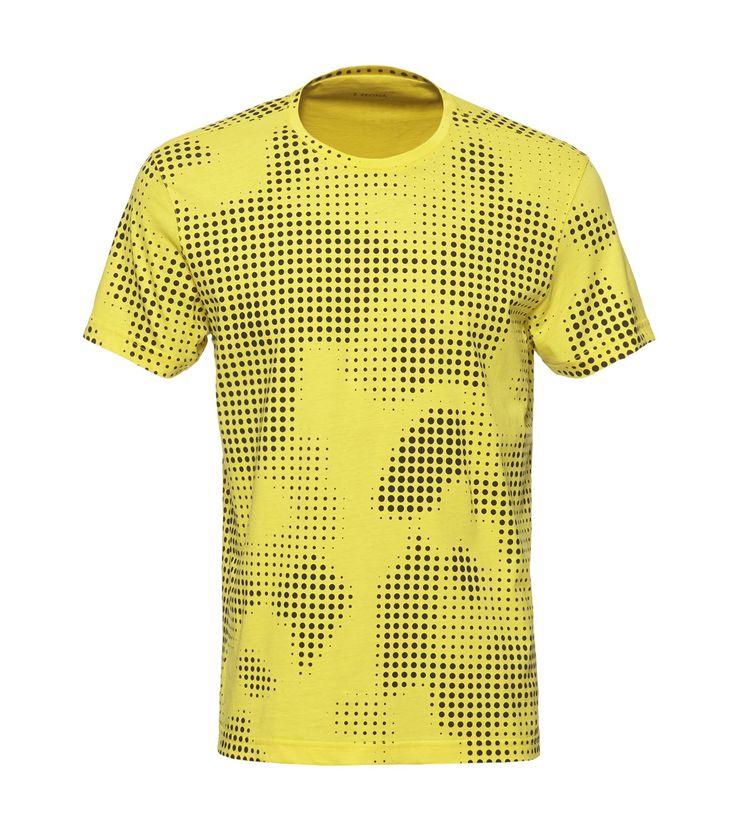 イエロー プリントコットンTシャツ