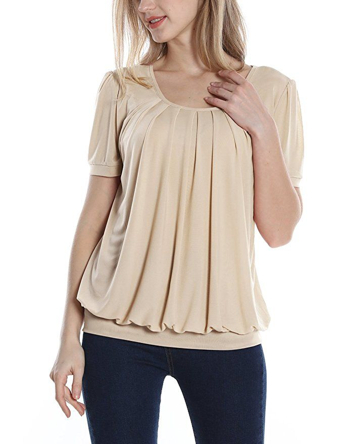 6102eb6f768 Timeson Women's Short Sleeve Scoop Neck Pleated Front Fitted Blouse Top at  Amazon Women's Clothing store