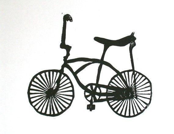 LINOCUT PRINT Banana seat bike BLACK letterpress by thebigharumph