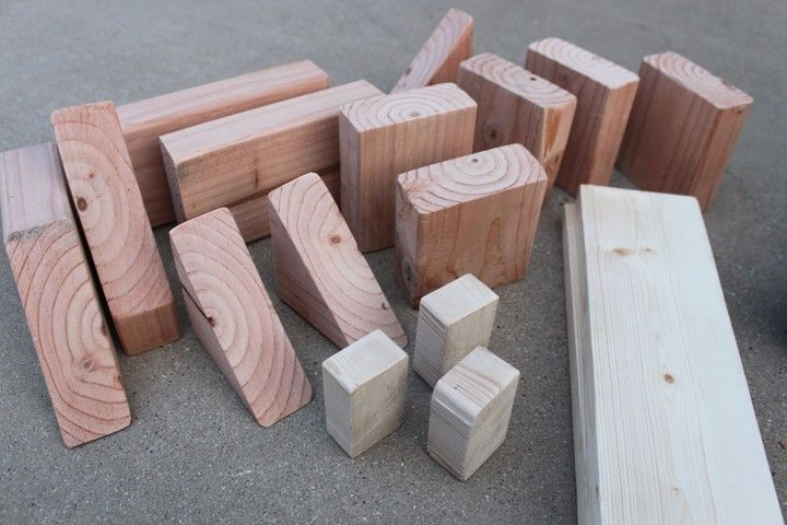 Make your own block set - a great beginning woodworking project!  Fun for an older kid to make for someone younger.
