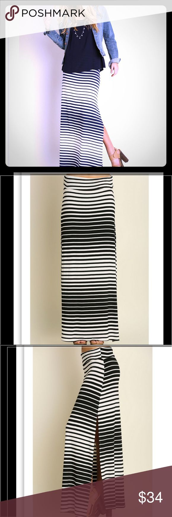 Striped Black & White Maxi Maxi Skirt. Black and white. Side slit. Super comfy. Skirts Maxi