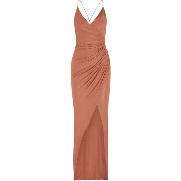Balmain Embellished gathered stretch-jersey maxi dress ($1,890) ❤ liked on Polyvore featuring dresses, balmain, dresses/gowns, pink, antique dress, brown maxi dress, ruched dress, rosette dress and embellished maxi dress