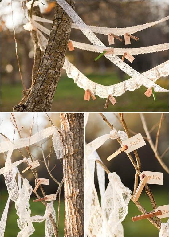 clothes pin pictures to lace