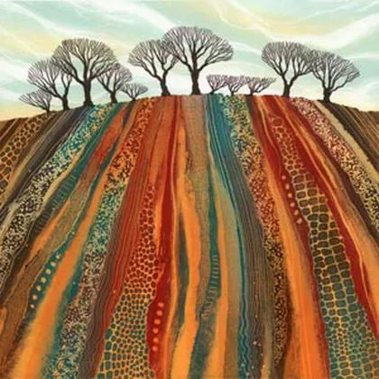Earth Lines giclee print by Northumberland UK artist Rebecca Vincent trees ploughed field art