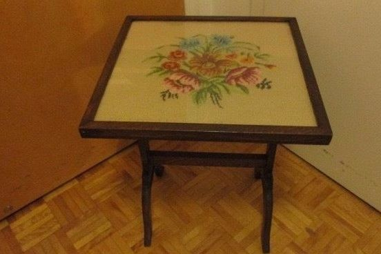 Antique Victorian Needlepoint Tapestry Wooden Tilt Top Table and Fire Screen #Victorian #unknown
