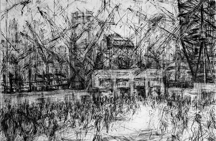 """Artist Jeanette Barnes creates large charcoal drawings of cities, capturing the energy and savage nature of construction and change in her work. London-based Jeanette is currently artist-in-residence at Clifford Chance in Canary Wharf and has been sketching the construction of the Wood Wharf cross rail station. """"I use compressed charcoal or charcoal for my large drawings, pencils for my sketches I do on location and printing ink for my monotypes,"""" says Jeanette. """"Funnily, I don't seemy work…"""