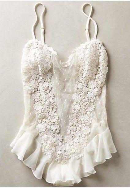 Jumpsuit: lingerie white lingerie lace bridal lingerie mesh bodysuit