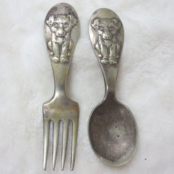Vintage Winthrop Silver Plate Childs Dog Doggie Spoon