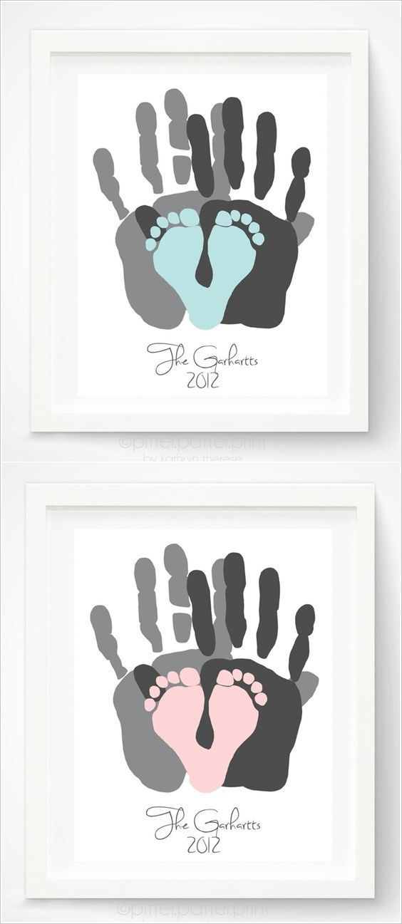 Hand And Footprint Gift Idea For A Diy Baby Shower KIt Via Pitter Platter On Etsy