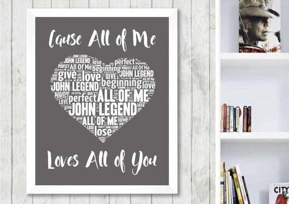 Home Art John Legend Song Lyrics Typography A4 Print Poster Artwork All of Me